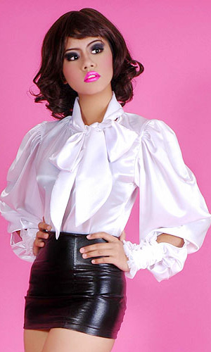 Satin Puff-sleeve Blouse