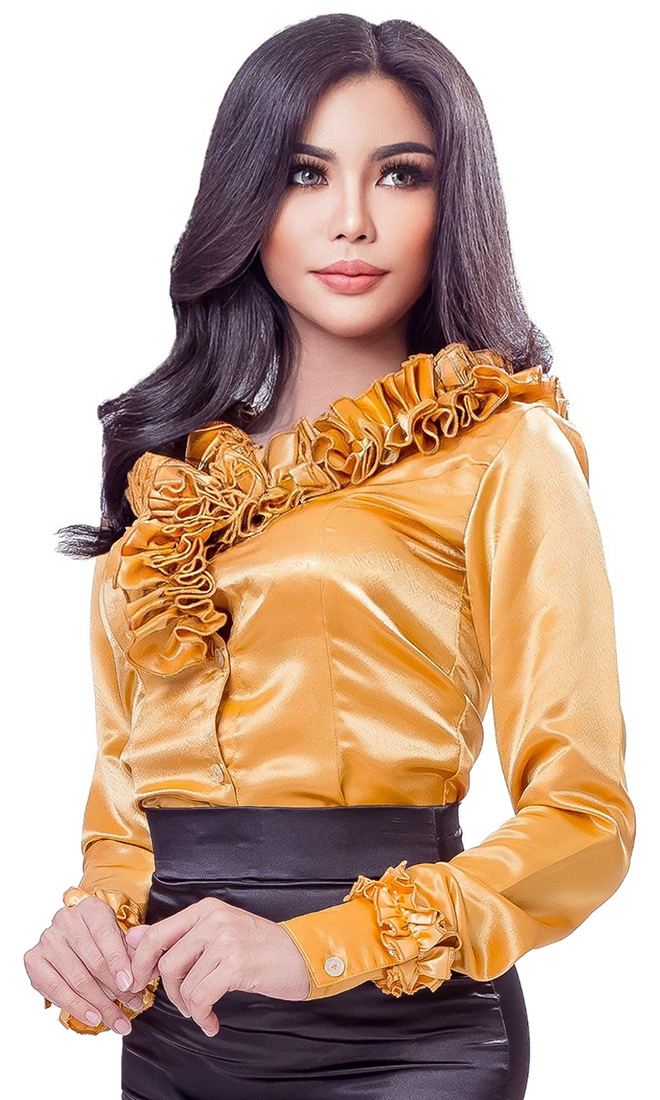 Satin Beluka Pleated Blouse