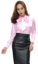 Satin Stripes Sabrina Bow Blouse