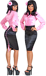 Satin Rear-Tie Skirt