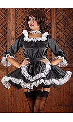Satin French Maid with long sleeves