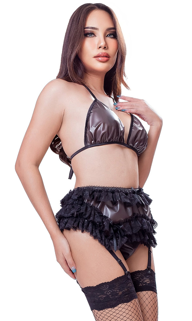 Bambi Plastic and Lace Suspender Belt